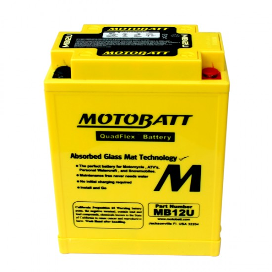 Μπαταρία MOTOBATT MB12U - GEL | 15AH / Volt:12 / EN:160 / Πολικότητα: Αριστερά και Δεξιά +
