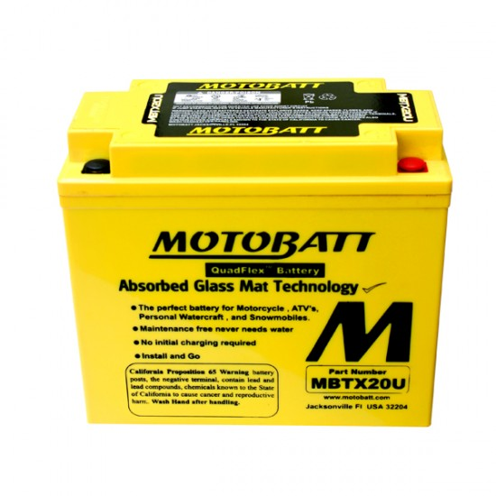 Μπαταρία MOTOBATT MBTX20U - GEL | 21AH / Volt:12 / EN:280 / Πολικότητα: Αριστερά και Δεξιά +