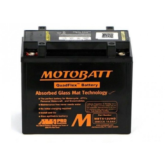 Μπαταρία MOTOBATT MBTX12UHD - GEL | 14AH / Volt:12 / EN:200 / Πολικότητα: Αριστερά και Δεξιά +