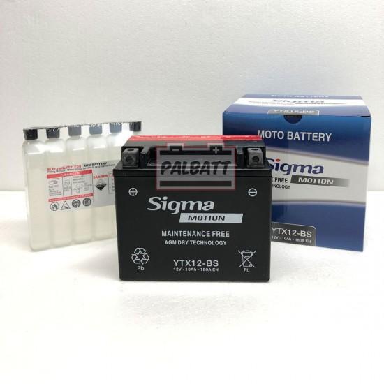 ΜΠΑΤΑΡΙΑ SIGMA SB-YTX12-BS AGM | 10AH / VOLT:12 / EN:180 / ΠΟΛΙΚΟΤΗΤΑ: Αριστερά το +