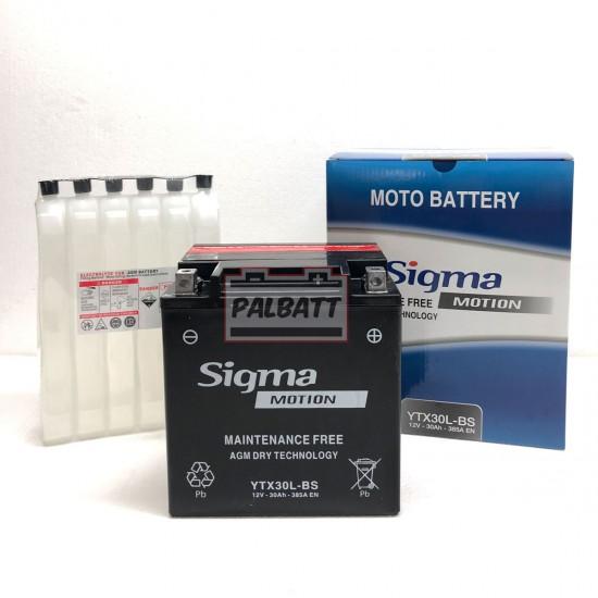 ΜΠΑΤΑΡΙΑ SIGMA SB-YTX30L-BS AGM | 30AH / VOLT:12 / EN:385 / ΠΟΛΙΚΟΤΗΤΑ: Δεξιά το +