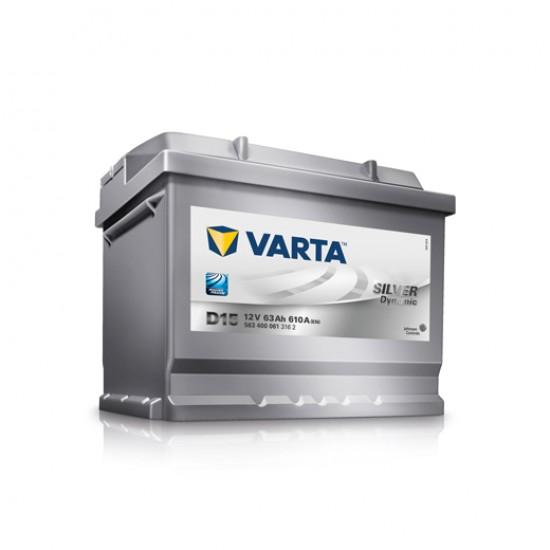 Μπαταρία Varta D15 SILVER Daynamic | 563 400 061 | 63AH / Volt:12 / EN:610 / Πολικότητα: Δεξιά το +