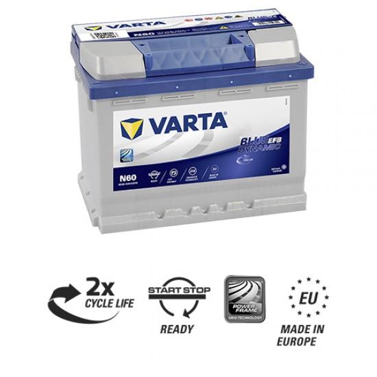 Μπαταρία Varta N60 Blue Dynamic - EFB | 560 500 064 | 60AH / Volt:12 / EN:640 / Πολικότητα: Δεξιά το +
