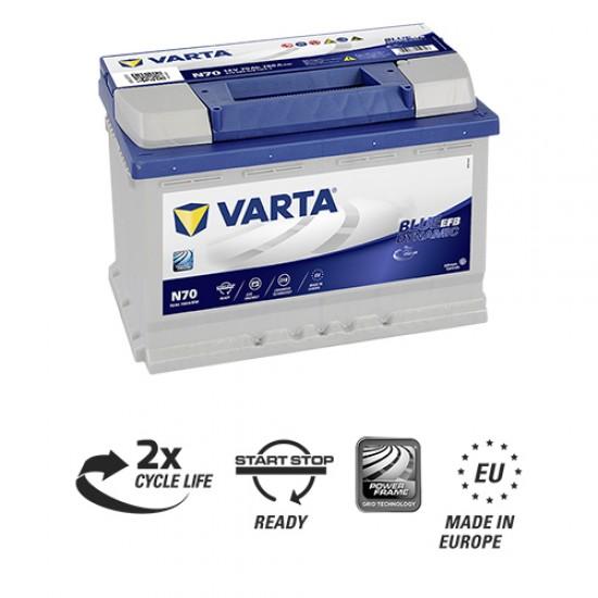 Μπαταρία Varta N70 Blue Dynamic - EFB | 570 500 076 | 70AH / Volt:12 / EN:760 / Πολικότητα: Δεξιά το +