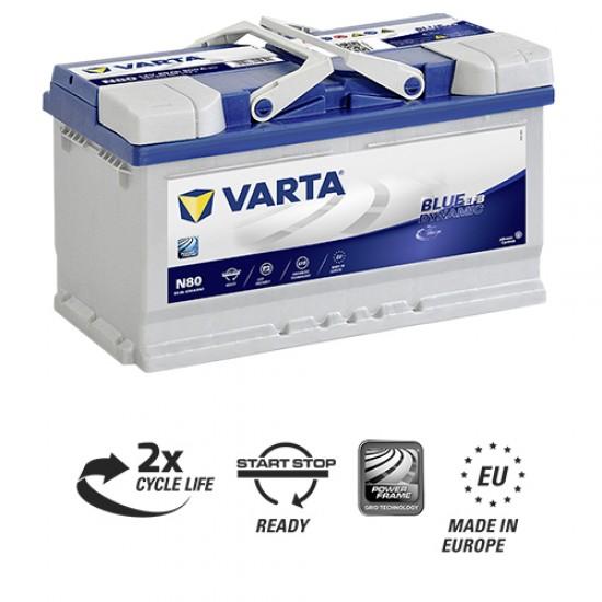 Μπαταρία Varta N80 Blue Dynamic - EFB | 580 500 080 | 80AH / Volt:12 / EN:800 / Πολικότητα: Δεξιά το +